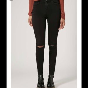 Top shop Moto Leigh Black ripped jeans